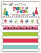 """Dovecraft """"Merry Magic' Modern Christmas Craft Collection - 5m Ribbon Bundle"""