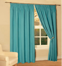 PLAIN TEAL THERMAL INSULATED TAPE TOP PENCIL PLEAT LINED CURTAINS 66x72 INCHES