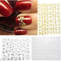 3D Nail Art Bows Hearts Lace Metallic Glitter Nail Art Stickers Decals Transfers