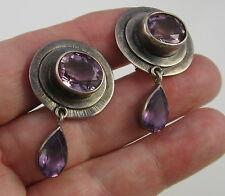 Estate Gorgeous Vintage Sterling Silver Purple Amethyst Drop Pierced Earrings