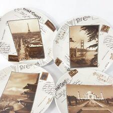 Postcard Travel Landmark 4 Salad Plates Paris Taj Mahal Fuji Retro Boxed