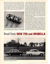 1960 DKW 750 & ARABELLA  ~  CLASSIC ORIGINAL 4-PAGE ROAD TEST / ARTICLE / AD