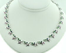 14k Solid White gold Natural  Ruby Emerald Sapphire necklace 6.59 ct Floral