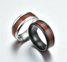 b72ee73b31 8MM Wood Inlay Titanium Steel Men Women Wedding Engagement Ring Band Size  6-13