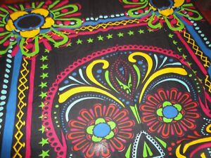 INDIA BOHO BLACK MAGENTA BLUE YELLOW COLORFUL FULL QUEEN FLAT SHEET BED COVER