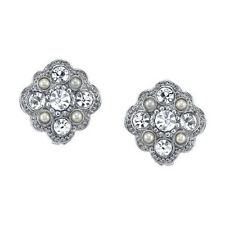 Downton Abbey Silver-Tone Flower Crystal and Simulated Pearl Stud Earrings 17874