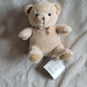 Carters Stuffed Plush Teddy Bear Cream Beige Ivory Tan faux-suede paw satin bow