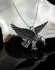 Solid Sterling Silver 925 Eagle Pendant 16/18/20 Inch Necklace Chain Gift Box