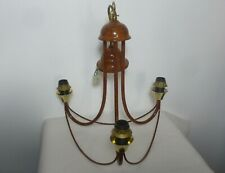 Superb Endon Art Deco Style Wood Effect Ceiling Chandelier with Three Light Fitt