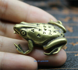 Chinese archaize pure brass small Frog Statue