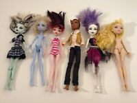 MATTEL MONSTER HIGH DOLLS LOT OF 6 FOR PARTS OR REPAIR