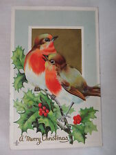 VINTAGE EMBOSSED CHRISTMAS POSTCARD LARGE COLORFUL BIRDS ON HOLLY 1911 UNMAILED