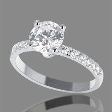 1 CARAT ROUND CUT DIAMOND ENGAGEMENT RING D/VS2 14K WHITE GOLD ENHANCED