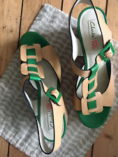 Orla Kiely Clark's Sandalen Shoes Wedge Natur/Grün UK 7 EU 40 Vintage Retro NEU!