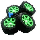 Wheel tires Green rim with wheel nuts(4PCS) for 1/5 Traxxas x maxx 220MM*105MM