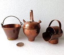 3 VINTAGE RAME Casa delle Bambole Miniature Decorazioni Carbone affondiamo secchio d'acqua PAN