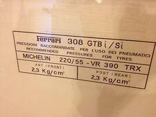 308 GTSi GTBi Ferrari Tyre Tire Info Window Sticker Windscreen TRX Michelin
