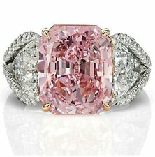 Women Fashion 925 Silver Pink Sapphire & White Topaz Bridal Gifts Ring Jewelry