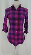 Bongo Maroon Burgundy Blue Plaid Button Down Shirt Size S