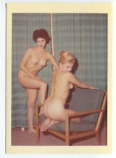 Classic Females Two Beautiful Women  1950 Original Nude Color Photo  B7267