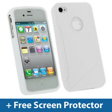 BIANCO TPU GEL Custodia per Apple iPhone 4 HD & 4S 16GB 32GB 64GB Cover PELLE HOLDER