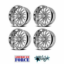 (4) 20x9 American Force Polished SS8 Octane Wheels For Chevy GMC Ford Dodge