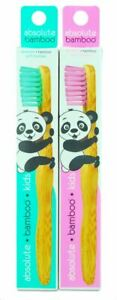 2 x Absolute Bamboo Kids Toothbrushes, Natural Sustainable Biodegradable