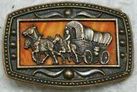 Western Belt Buckle Brown Orange Decorative Metal CII New York Horses & Buggy