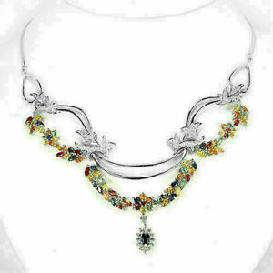 Necklace Mixed Colour Songea Sapphire Genuine Gems Solid Sterling Silver 18 Inch