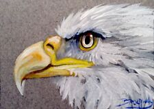 Broadway Original ACEO Impressionist Acrylic 2.5x3.5 in. Bald Eagle painting