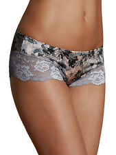 MARKS & SPENCER LINGERIE LOW RISE SHORTS NO VPL PINK GREY FLORAL LACE KNICKERS