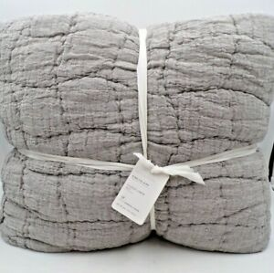 Pottery Barn Cloud Handcrafted Linen Cotton Quilt King /Cal. King Gray #9917
