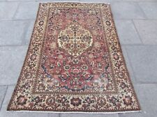 Antique Shabby Chic Traditional HandMade Persian Oriental Red Wool Rug 202x133cm