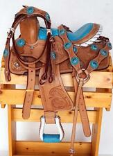 "CLOSEOUT 10"" Gator Seat Western Youth Saddle Pony Blue Headstall Breast Collar"