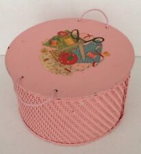 Vintage 1940s Pink Wicker & Wood Round Floral Decal Sewing Basket Box