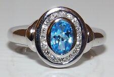 A FINE  9CT WHITE GOLD AQUA BLUE TOPAZ 0.16CT DIAMOND KATE CLUSTER RING SIZE  J