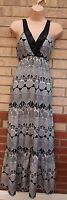PAPAYA WHITE BLACK TRIBAL AZTEC SEQUIN BEADED BOHEMIAN LONG MAXI DRESS 12 M