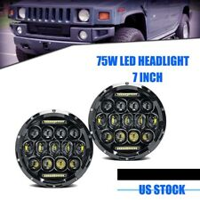 75W 7inch Round CREE LED Headlight  Lamp For Hummer H1 H2 PAIR