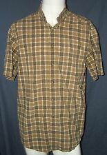 LL Bean Men's M-Reg Short Sleeve Button Up Green Brown Plaid Shirt