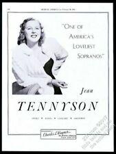 1941 Jean Tennyson photo opera singing recital tour trade booking ad
