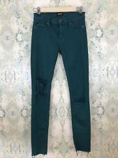 Hudson Green Krista Distressed Super Skinny Ankle Raw Hem Rip Denim Jeans 25
