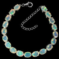 NATURAL TOP AAA RAINBOW OPAL OVAL STERLING 925 SILVER BRACELET ADJUSTABLE SIZE