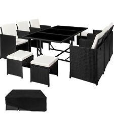 Ensemble Salon de jardin résine tressée poly rotin chaise table tabouret noir