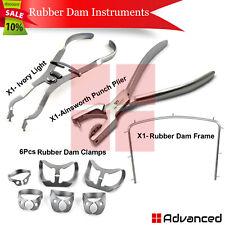 9pcs Rubber Dam Kit Starter Ainsworth Punch Plier Ivory Light Clamps Brinker Ce