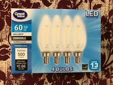 4 PACK LED 60W = 5.5W Candelabra Daylight Dimmable 60 Watt Equivalent 5000K bulb