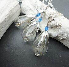 Schmuckset echte Pusteblume Ohrringe und Kette Set blau Tropfen