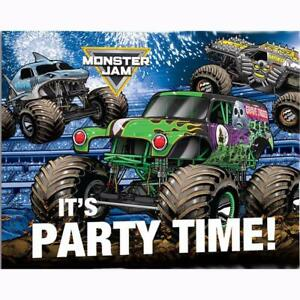 Monster Jam Grave Digger Invitations and Envelopes Birthday Party Supplies 8 Ct