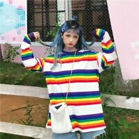 Ladies Rainbow Striped Cotton T-shirt Loose Harajuku Top Long Sleeve Fashion New