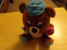 2011 DECOPAC MINITURE  PLUSH  TEDDY BEAR BLUE CAP HOLDING BOTTLE  & BLANKET