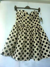 WOW BNWT FOREVER UNIQUE BLACK WHITE SPOTTED POLKA SKATER NET DRESS PARTY SIZE 12